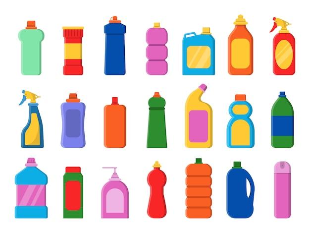 Set di icone di bottiglie pulite chimiche. immagini piane di vettore antisettico dei contenitori di servizio del detersivo di lavanderia sanitaria detergente Vettore Premium