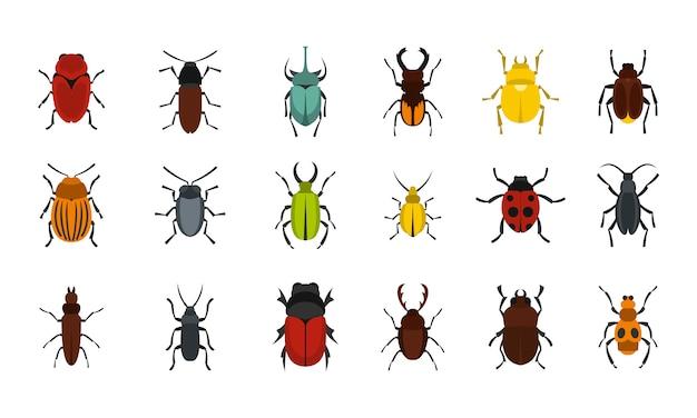 Set di icone di bug. insieme piano della raccolta delle icone di vettore degli insetti isolata Vettore Premium
