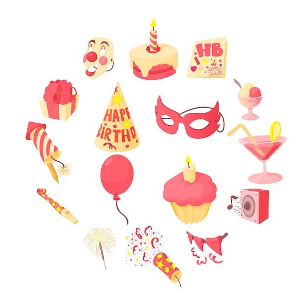 Set di icone di buon compleanno, stile cartoon Vettore Premium