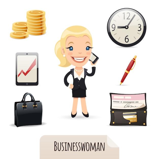 Set di icone di businesswomans Vettore Premium