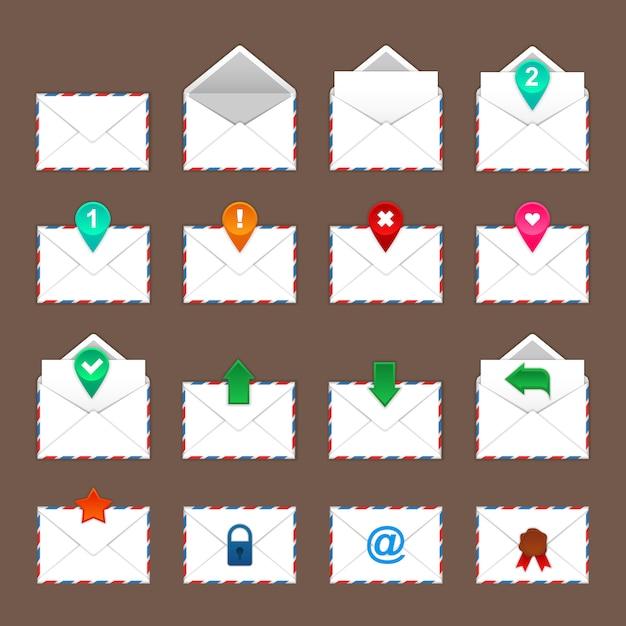 Set di icone di buste Vettore Premium