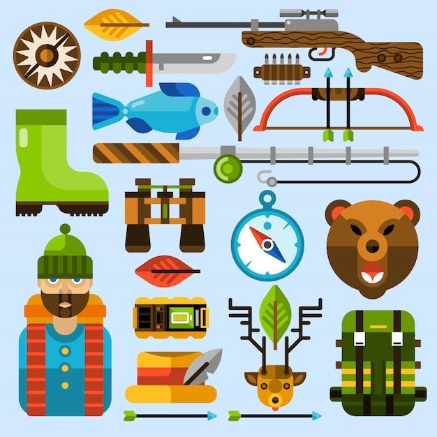 Set di icone di caccia e pesca Vettore gratuito