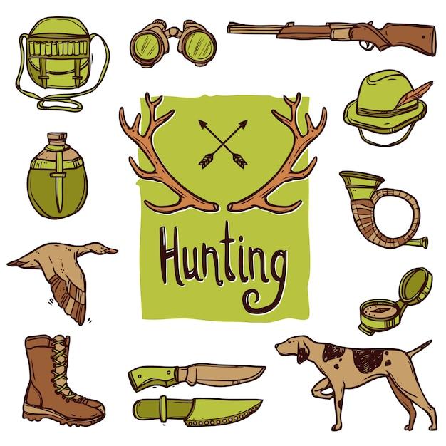 Set di icone di caccia Vettore gratuito