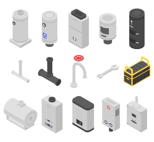 Set di icone di caldaia, stile isometrico Vettore Premium