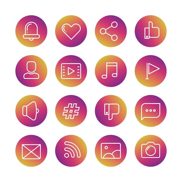 Set di icone di campana, cuore, pollice su, profilo avatar, lettore video, nota musicale, bandiera, megafono, hashtag, pollice giù, fumetto, busta, rrss, fotografia e macchina fotografica Vettore Premium