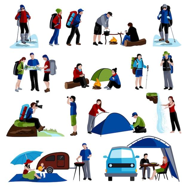 Set di icone di campeggio e persone Vettore gratuito