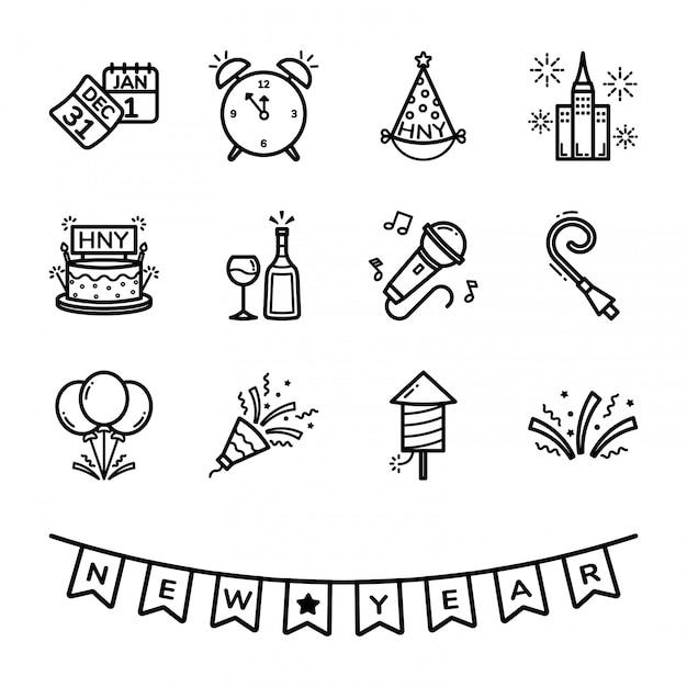 Set di icone di capodanno Vettore Premium