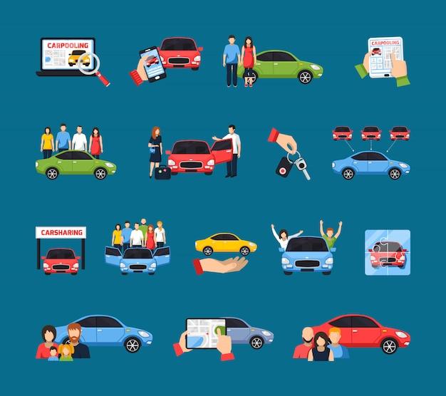 Set di icone di car sharing Vettore gratuito