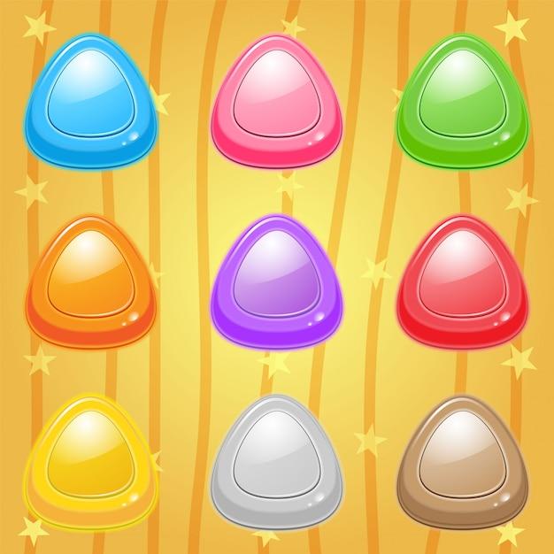 Set di icone di caramelle triangolo Vettore Premium
