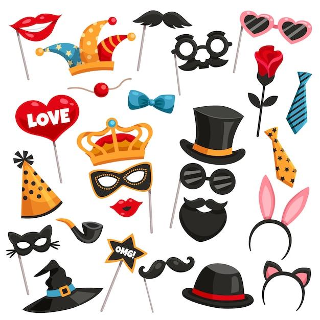 Set di icone di carnival photo booth party Vettore gratuito