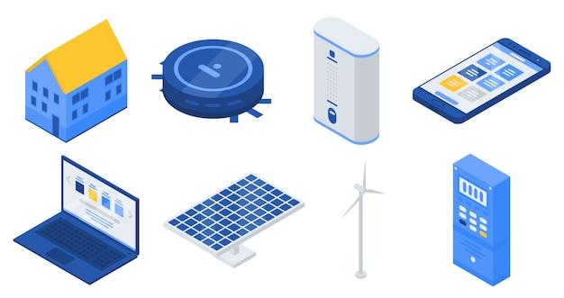 Set di icone di casa autonoma, stile isometrico Vettore Premium