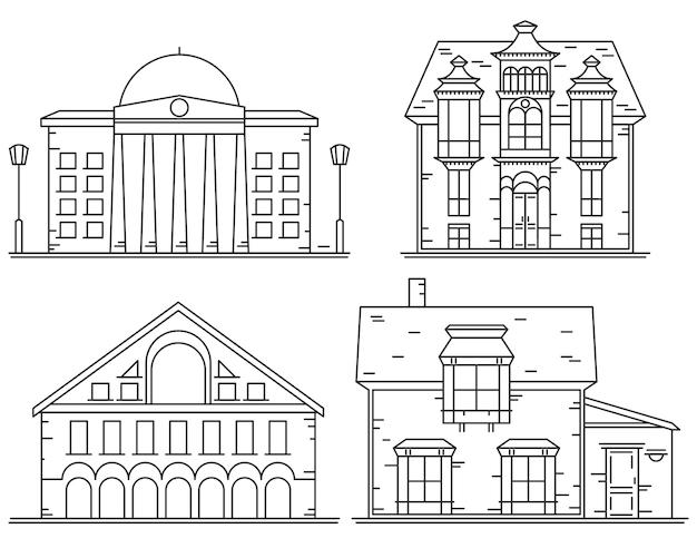 Set di icone di case linea Vettore Premium