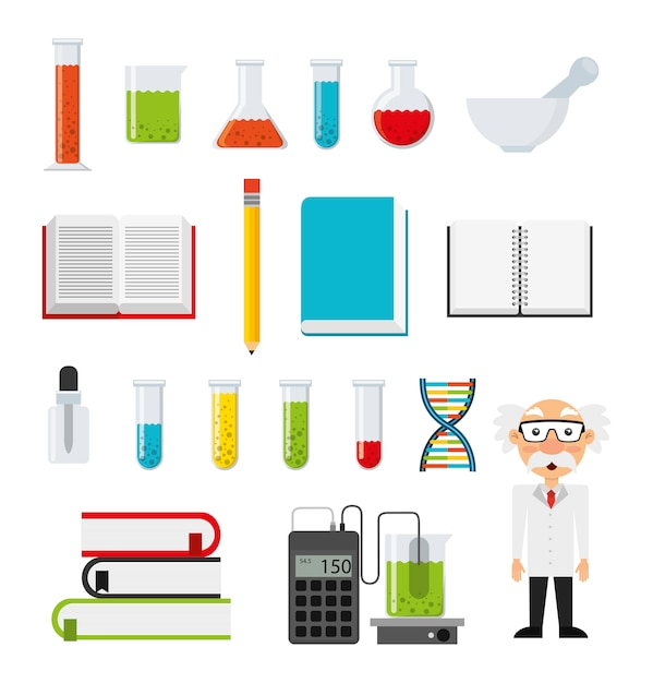 Set di icone di chimica Vettore gratuito