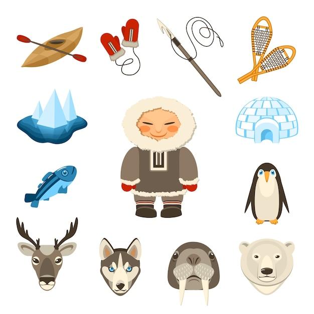 Set di icone di chukchi Vettore gratuito