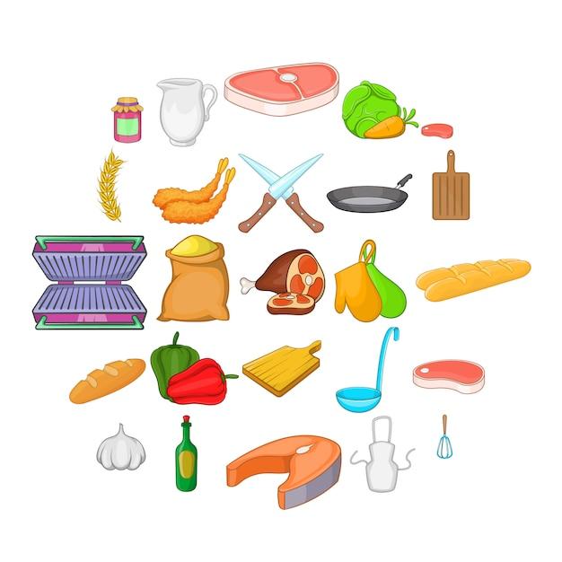 Set di icone di cibo gustoso. un insieme del fumetto di 25 icone saporite dell'alimento per il web isolato su bianco Vettore Premium