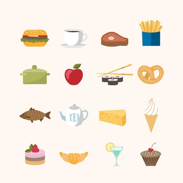 Set di icone di cibo Vettore gratuito