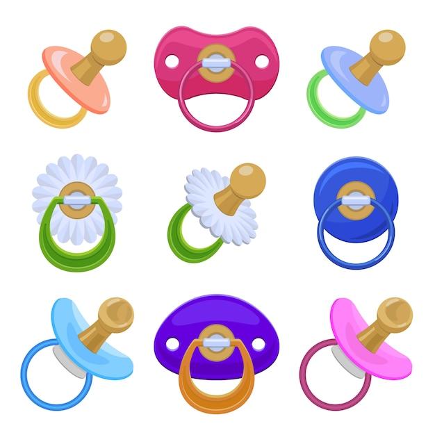 Set di icone di ciuccio, stile cartoon Vettore Premium
