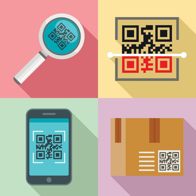 Set di icone di codice qr, stile piano Vettore Premium
