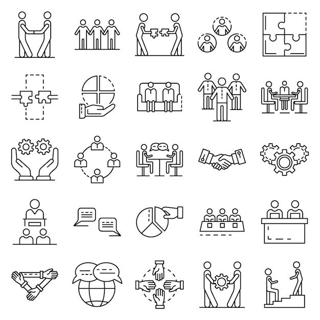 Set di icone di coesione. delineare un insieme di icone vettoriali di coesione Vettore Premium