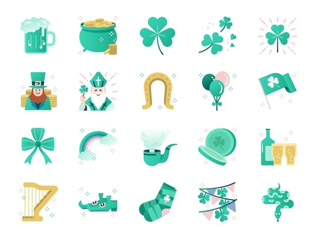 Set di icone di colore giorno di san patrizio. Vettore Premium