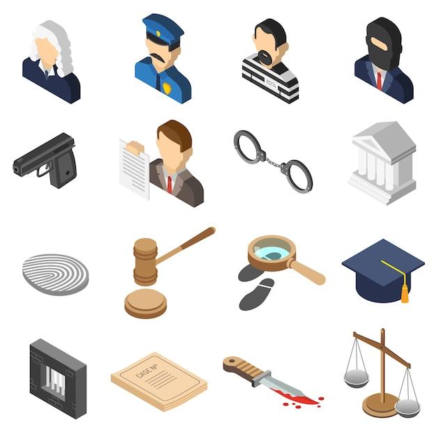 Set di icone di colore isometrica della giustizia Vettore gratuito