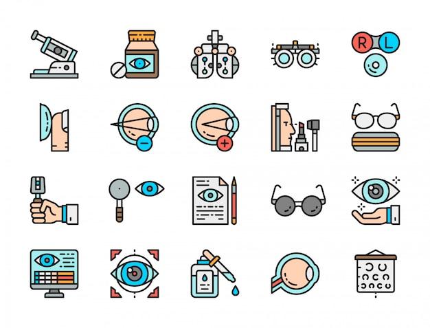 Set di icone di colore piatto di optometria. Vettore Premium