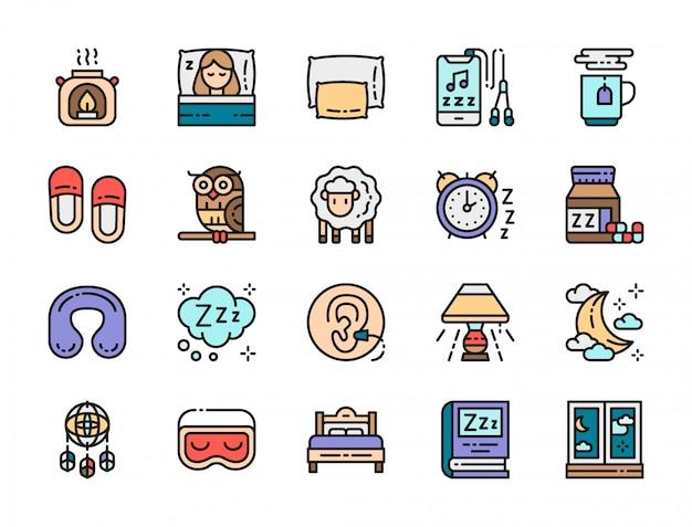 Set di icone di colore piatto di sonno. Vettore Premium