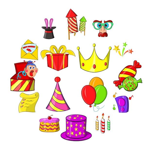 Set di icone di compleanno Vettore Premium