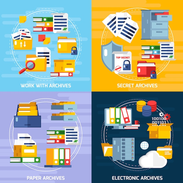 Set di icone di concetto di archiviazione Vettore gratuito