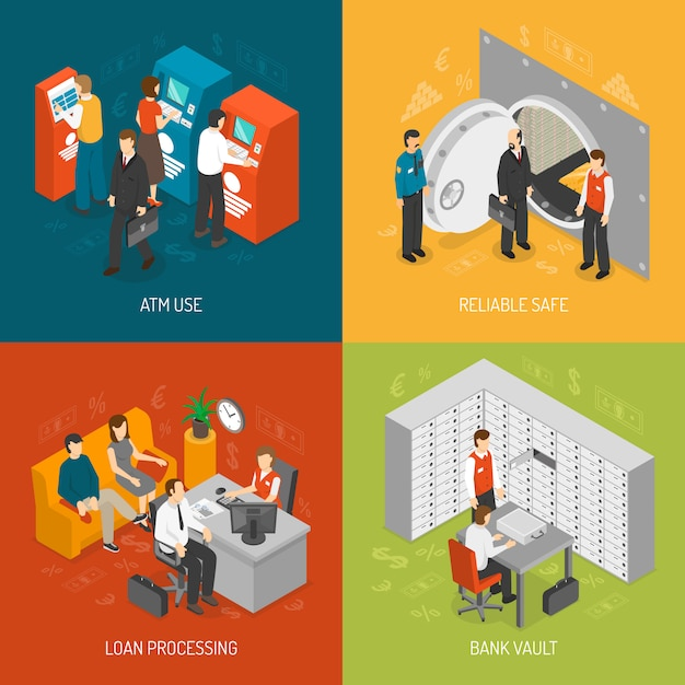 Set di icone di concetto di banca Vettore gratuito