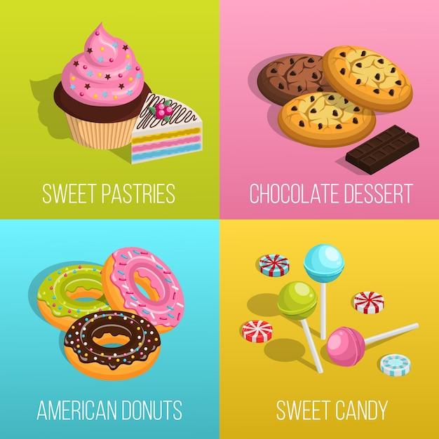 Set di icone di concetto di confetteria Vettore gratuito