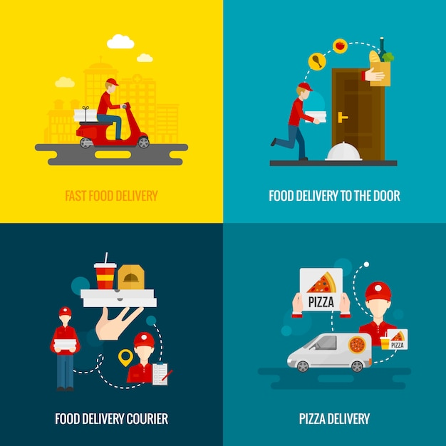 Set di icone di concetto di consegna di cibo Vettore gratuito