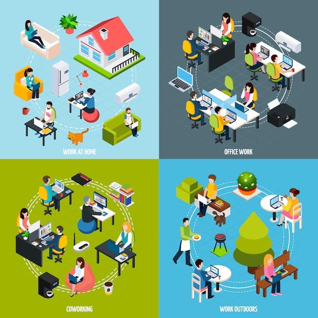 Set di icone di concetto di coworking Vettore gratuito