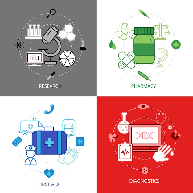 Set di icone di concetto di design medico Vettore gratuito
