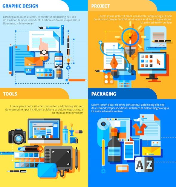 Set di icone di concetto di graphic design Vettore gratuito