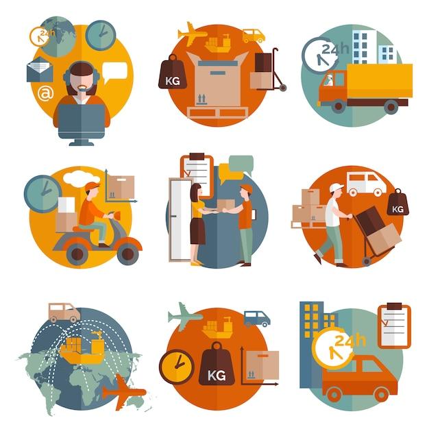 Set di icone di concetto di logistica Vettore gratuito