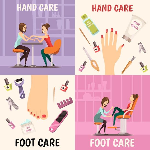 Set di icone di concetto di manicure Vettore gratuito