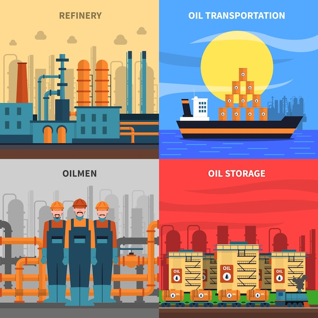 Set di icone di concetto di olio Vettore gratuito
