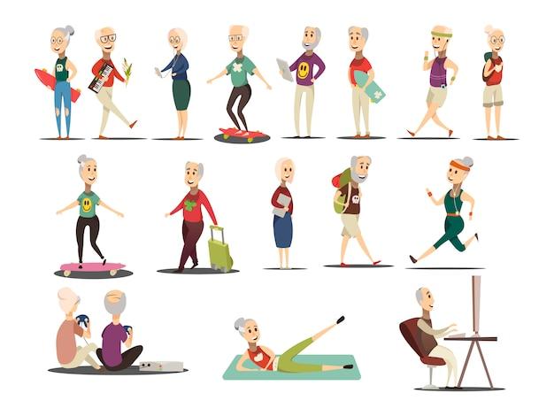 Set di icone di concetto di persone anziane Vettore gratuito