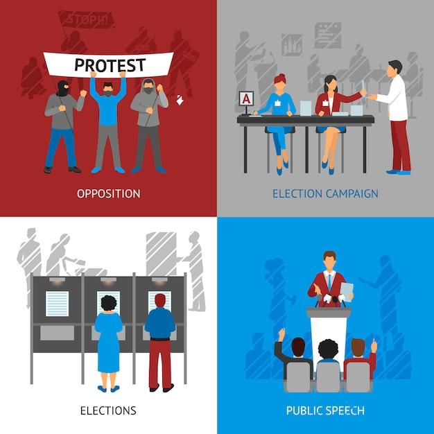 Set di icone di concetto di politica Vettore gratuito