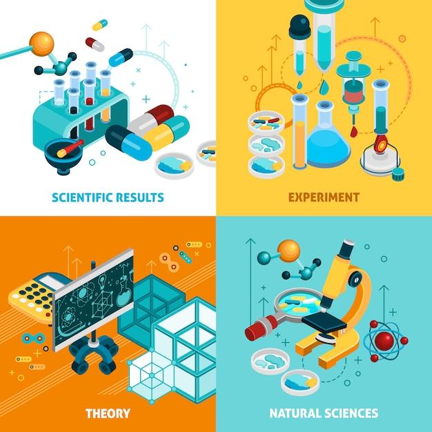 Set di icone di concetto di scienza Vettore gratuito