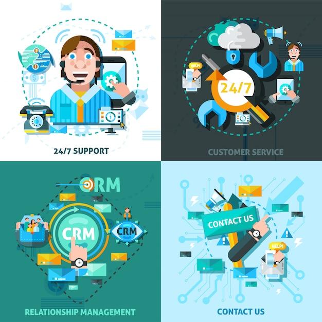 Set di icone di concetto di supporto clienti Vettore gratuito