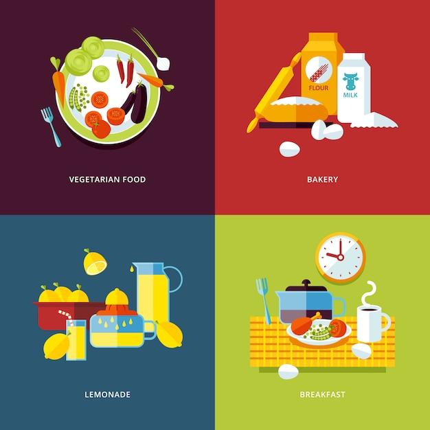 Set di icone di concetto per cibo e bevande. icone per composizioni alimentari vegetariane, prodotti da forno, limonata e colazione. Vettore Premium