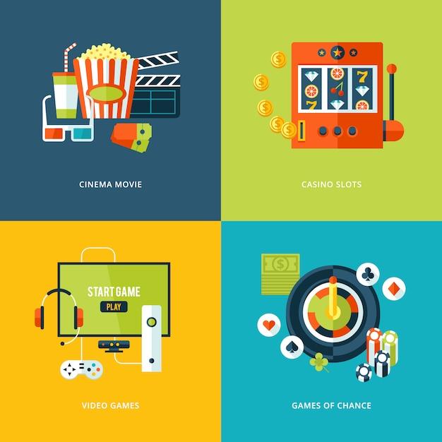Set di icone di concetto per i tipi di intrattenimento. icone per film cinematografici, giochi da casinò, videogiochi, giochi d'azzardo. Vettore Premium