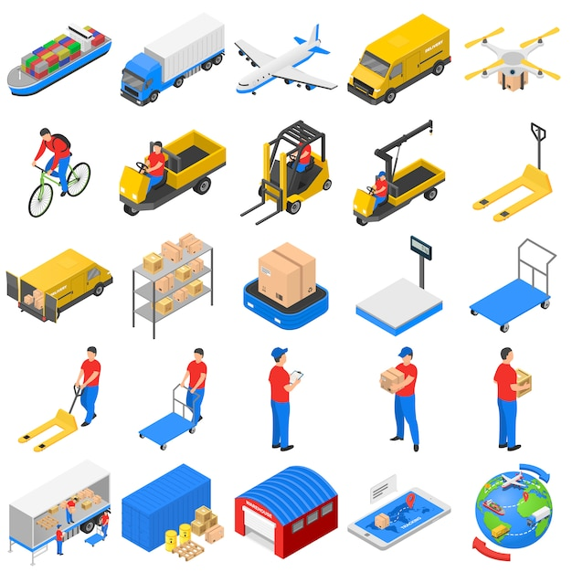 Set di icone di consegna logistica, stile isometrico Vettore Premium
