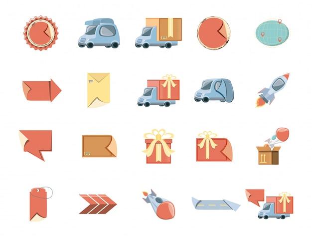 Set di icone di consegna Vettore Premium