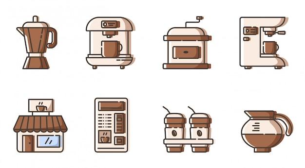 Set di icone di contorni - attrezzatura elettronica, caffettiera e mashine di fabbricazione del caffè Vettore Premium