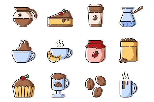 Set di icone di contorno riempito - caffè, attrezzatura per la preparazione del caffè, tazza o tazza con bevande calde e dessert Vettore Premium