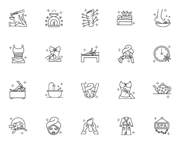 Set di icone di contorno spa Vettore Premium