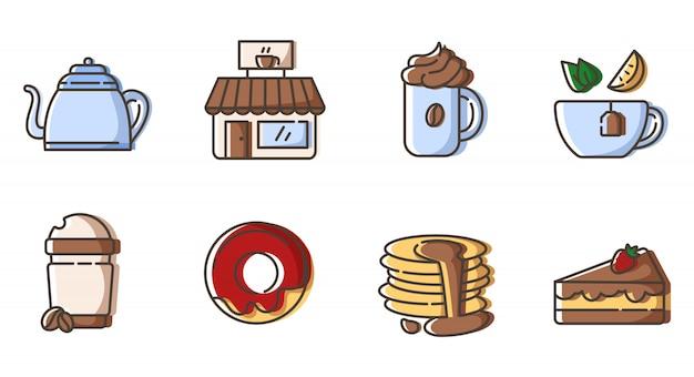 Set di icone di contorno - tè e caffè, bevande calde, bevande e dessert per la colazione Vettore Premium